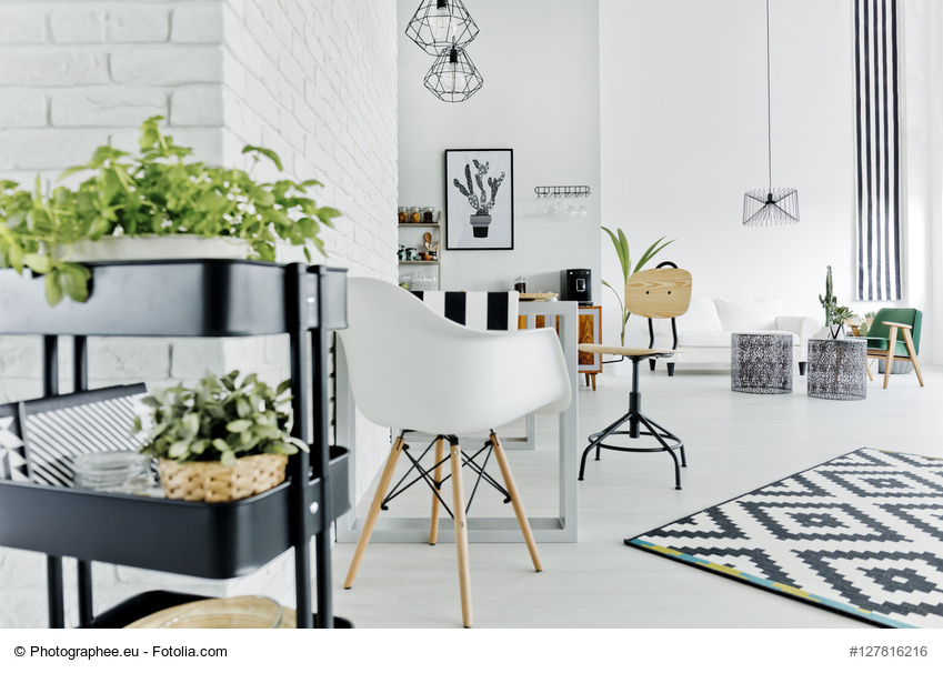 White apartment with herb stand, table, chair and carpet