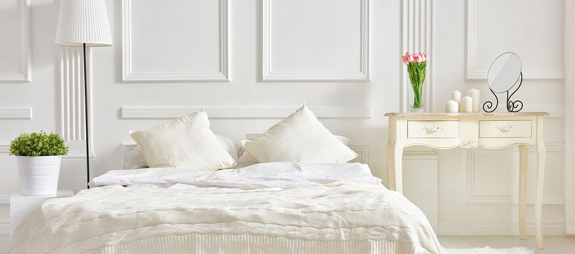 Wohnen in Weiss Bett Sclafzimmer