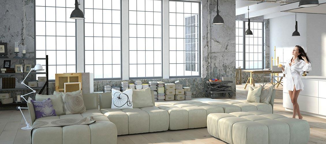 Wohnen in Weiss Industrial Style