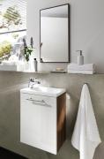 Badmöbel Badschränke Hochglanz Lack weiß / Walnuss Tendenz