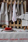 Geschirrtücher Bon Appétit 100% Leinen, Natur mit weiß mit Nostalgie Schriftzug