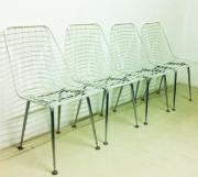 Vintage Weiße Drahtstühle, 4er Set