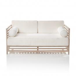 Outdoor-Sofa 2-Sitzer, inkl. Sitz- und Rückenkissen, Akazie massiv