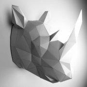 Papier-Wandtrophäe Rhino grau/weiß