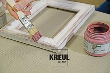 Kreul 75323 - Chalky Kreidefarbe, sanft - matte Farbe, cremig deckend, schnelltrocknend, für Effekte im Used Look, 150 ml Kunststoffdose, Snow White - 4