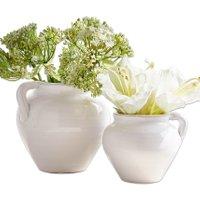 LOBERON Vase 2er Set Ulima, weiß (15 x 17 x 15cm)
