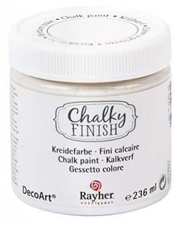 Rayher 38868102 Chalky Finish auf Wasser-Basis Kreide Farbe für Shabby-Chic, weiß, 236 ml - 1