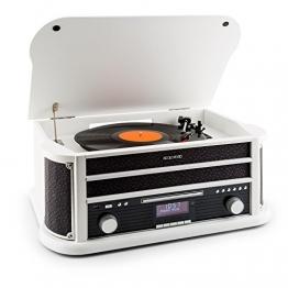 auna Belle Epoque 1908 - Retroanlage, Plattenspieler, Stereoanlage, Digitalradio, Radio-Tuner, MP3-fähig, RDS, Kassettendeck, USB-Port, CD, DAB+ & Bluetooth, weiß - 1