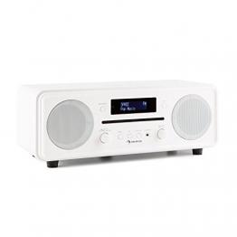 auna Melodia Digitalradio DAB+ / UKW Radiotuner Radiowecker (Radio, 20 Senderspeicher, MP3-fähiger CD-Player, Bluetooth, AUX, Dual Alarm & Snooze, LCD Display, Fernbedienung) antikweiß - 1
