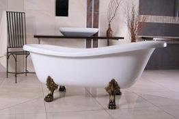 Casa Padrino Freistehende Badewanne Jugendstil Roma Weiß/Altgold 1695mm Barock Badezimmer - Retro Antik Badewanne - 1