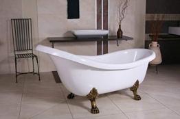 Casa Padrino Freistehende Badewanne Jugendstil Sicilia Weiß/Altgold 1740mm - Barock Badezimmer - Retro Antik Badewanne - 1