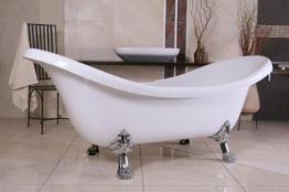 Casa Padrino Freistehende Badewanne Jugendstil Venedig Weiß/Silber - Barock Badezimmer - Retro Badewanne Antik Stil - Badewanne Freistehend - 1