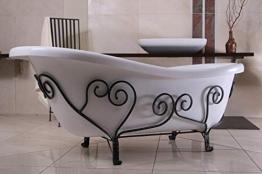 Casa Padrino Freistehende Luxus Badewanne Jugendstil Mediterran Weiß/Schmiedeeisen 1690mm - Antik Stil Badezimmer - Retro Antik Badewanne - 1