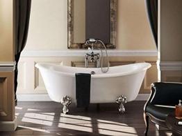 Casa Padrino Jugendstil Badewanne freistehend 1640mm BBat Weiß - Freistehende Retro Antik Badewanne, Badewannen Füsse:Luxury Arc Silber - 1