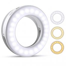 Criacr Selfie Licht, Selfie Licht Handy, Ringlicht Handy, 40 LED Ringleuchte mit 3 Stuff Helligkeit, USB Wiederaufladbar Selfie Ring Licht, für Alle Handy/Tablet/Laptop und Fotos - 1
