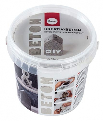 Rayher 34152000 Kreativ-Beton, Eimer 1 kg, hellgrau, Bastelbeton, Beton zum Basteln, Beton zum Gießen, Betonpulver zum Gießen, staubarm, gebrauchsfertig, mit Wasser anrühren - 1