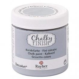 RAYHER HOBBY 38868558 Chalky Finish auf Wasser-Basis, Kreide-Farbe für Shabby-Chic-, Vintage- und Landhaus-Stil-Looks, 236 ml, steingrau - 1