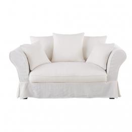 Leinen-Crinkle-Bezug für 2-Sitzer-Sofa, weiß Roma