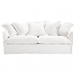 Sofa 3-/4-Sitzer aus gewaschenes Leinen, weiß Barcelone