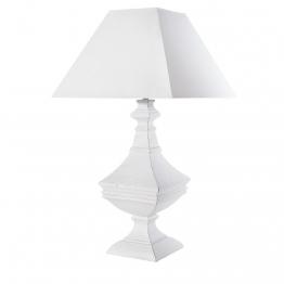Geschnitzte weiße Lampe mit weißem Lampenschirm