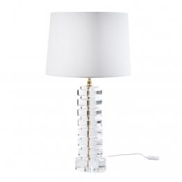 Lampe aus Kristall mit weißem Lampenschirm