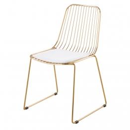 Stuhl aus goldfarbenem Metall mit weißem Baumwollbezug Huppy
