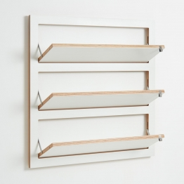 AMBIVALENZ - Fläpps Schuhregal klappbar 80x80cm - weiß/Kante Holz/BxHxT 80x80x19cm