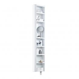 Jan Kurtz - Multi Tube 180° Regal mit Spiegel drehbar - weiß/glänzend/BxHxT 35x190x20cm/8 Böden/7 Böden verstellbar/Wandmontage