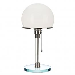 Tecnolumen - Wagenfeld WG 24 Tischleuchte - opal/Schirm Ø18cm Opalglas mundgeblasen/H 36cm/Fuß Glas Ø15,2cm/Gestell Messing vernickelt mit Glasrohr